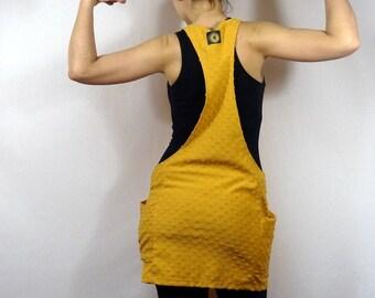 dress jumpsuit in mustard yellow jersey