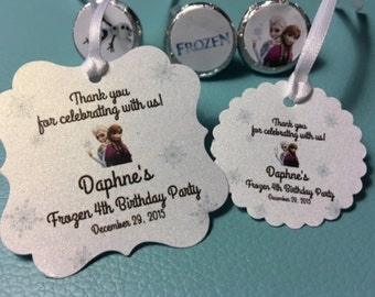 Frozen birthday party favor tags and stickers