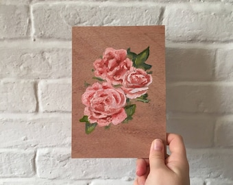 Pink Roses on Wood Panel Oil Painting