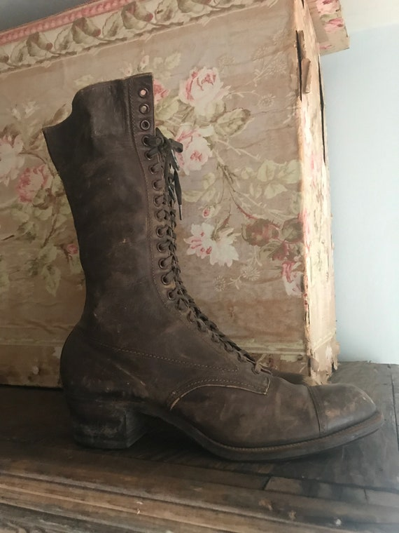 Eye Boots Brown Shoes 21 Laces Antique Leather Victorian xRqwt54YS