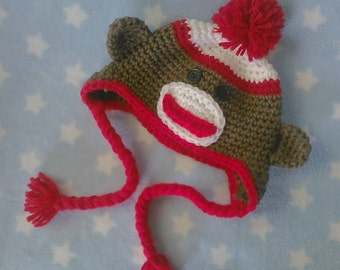 PATTERN Sock Monkey Infant Hat PDF crochet pattern In english fits babies 0-3 months great photo prop