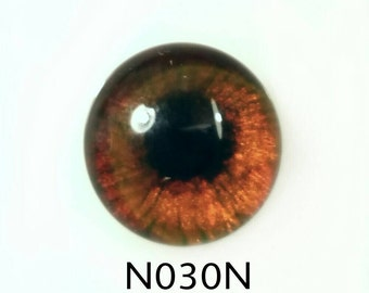 N030N Glass Eyes, Cabochon, handpainted on clear domed fused glass, dog/bear eyes,(deep ambers/ browns), muddled natural pupil. Single eye