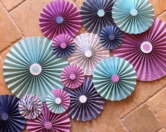 "Set of 15 Large 12"" / 9"" / 6"" DIY Paper Rosettes/Fans - Purple, Aqua and Dark Blue"