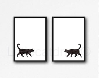 Black Cat Set of 2 Prints Walking Cats Watercolor Painting Art Print Cat Decor Black Cat Wall Art Cat Lover Gift Wall Decor Unframed