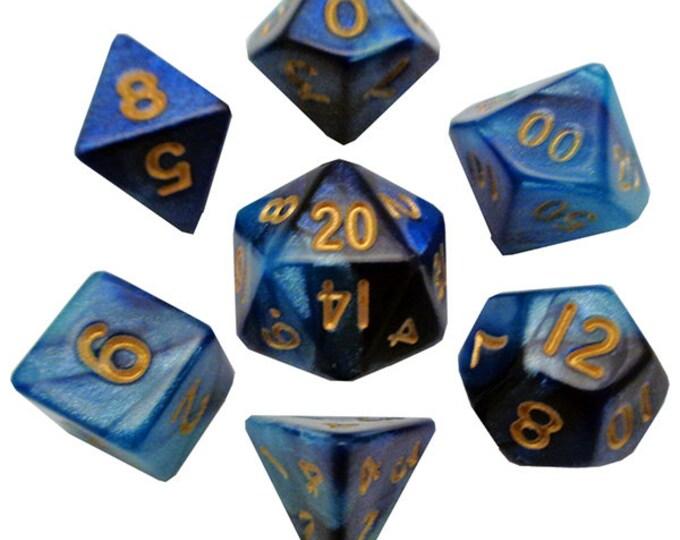 7-Die Set Combo: 10mm DarkBlue-LightBlue/White - MTD422 - Metallic Dice Games