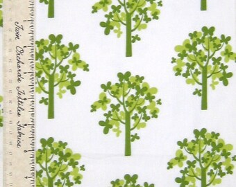 MODA FABRIC Just Wing It MoMo Green Butterfly Tree on White YARDS