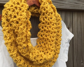 Mostaza de punto bufanda - bufanda Infinity mostaza - mostaza ganchillo bufanda – amarillo punto bufanda - chimenea mostaza - bufanda ligera - Neckwarmer