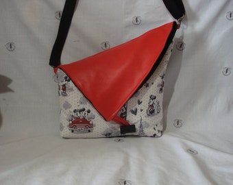 Mickey and Minnie Mouse bag with red skin