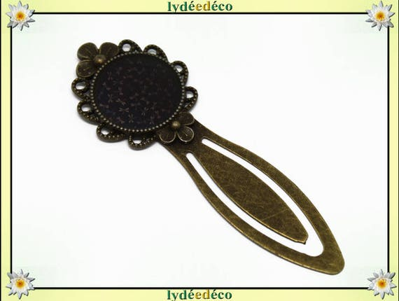 Bookmarks resin retro vintage Black Brown Blue dragonflies brass diameter 20mm