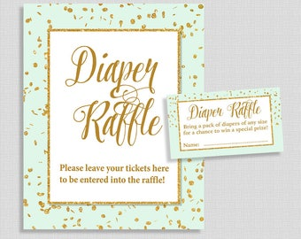 Diaper Raffle Sign and Tickets, Mint & Gold Glitter Confetti, Gender Neutral Baby Shower, Invite Insert, DIY Printable, INSTANT DOWNLOAD