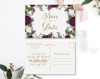 Floral Save the Date Card Save the Date Postcard Vintage Save the Date Burgundy Save the Date Printed Save the Date Save Date #CL123