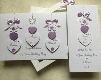 Handmade Personalised Boxed Wedding Card and Matching Gift Voucher/Money Wallet Engagement Anniversary