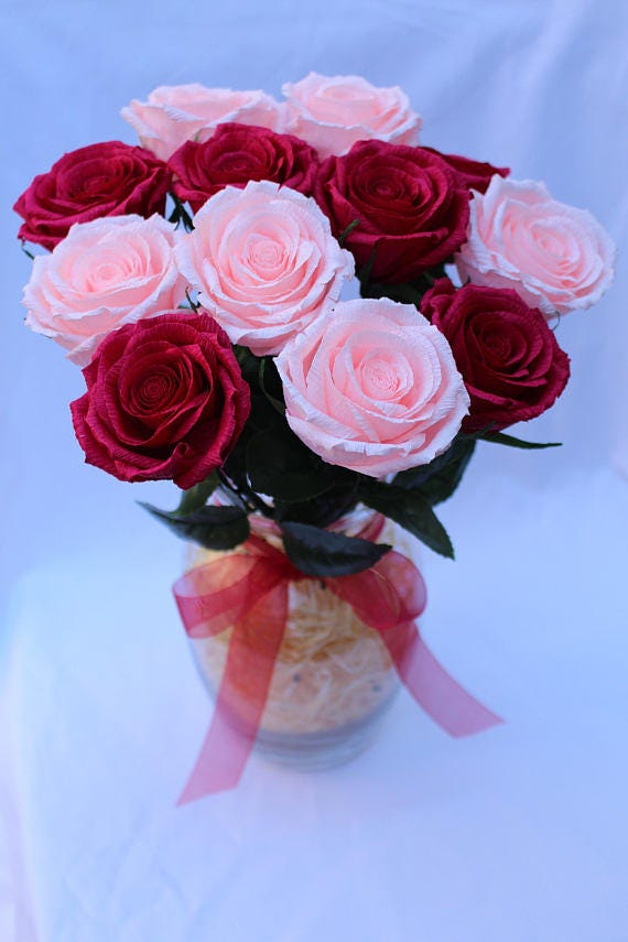 Paper flower arrangement pink roses crepe paper flower paper flower arrangement pink roses crepe paper flower floral arrangement red paper flower white rose paper rose mothers day flowers mightylinksfo Gallery