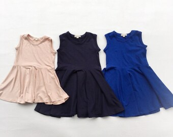 Basic sleeveless twirl dress spring summer baby toddler girls made to order solid color dress