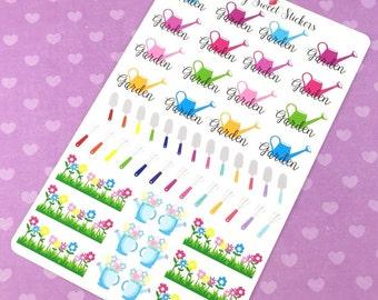 Planner Stickers Gardening, Erin Condren Life Planner Stickers, Happy Planner, Plum Paper, Kikki K, Garden Planner Stickers