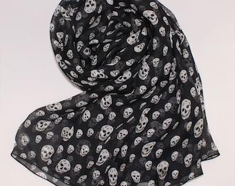 Black Silk Scarf with Skull Print - Skeleton Printed Silk Chiffon Scarf - AS28