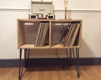 vinyl record furniture. Large Mid Century Inspired Lp Vinyl Record Media Music Storage Centre Furniture