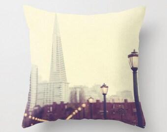 San Francisco throw pillow, neutral decor, Pier 7 Transamerica Pyramid print, purple, cream, romantic pillow, San Francisco decor