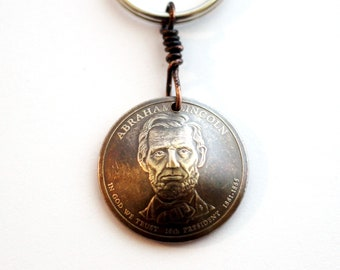 Lincolon Washington Hayes Garfield Adams  Keychain Domed Coin Keychain U.S. Coin 1 Dollar Coin Keyring, Lincoln Key Ring by Hendywood KCE13