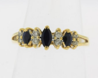 Sapphire and Diamond Marquise Band Ring in 14k Yellow Gold, September Birthstone