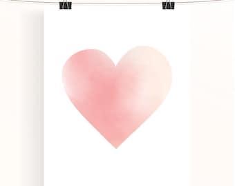 Pink heart poster, love print, pink watercolour art, heart wall art, home decor, girls room decor, love poster, watercolour heart print