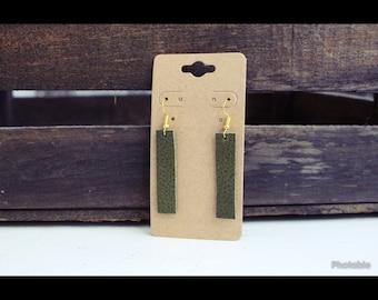 Olive Green Leather Bar Dangle Earrings