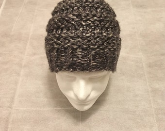 black and white knitted hat