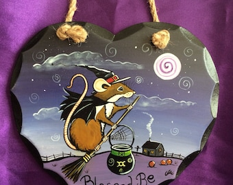 OOAK Hand Painted Wall Hanging Witch Mouse Blessed Be
