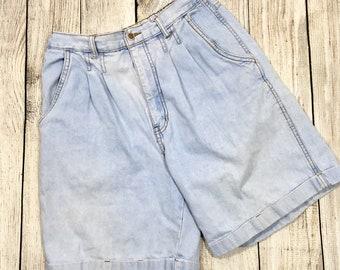 Vtg 80s Bill Blass Light Blue High Waisted Mom Jean Shorts