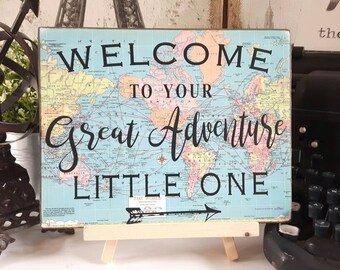 High Quality Welcome Sign For Adventure Themed Baby Shower; Travel ...
