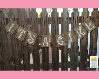 Baby Girl Shower Burlap Banner, Its A Girl Burlap Banner, Baby, Banner, Baby Shower Burlap Banner, Burlap Banner, Baby Shower Decorations