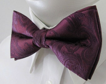 Mens Bowtie Eggplant Purple Paisley PreTied Mans Bow Tie Pre tied