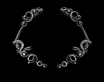Ear Cuff Wrap - Silver Cartilage Cuffs - Gothic Earrings - Fake Helix Piercings - 925 Jewelry - Plain Silver Collection