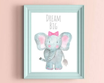 Dream Big Print, Safari Nursery Decor, Pink Polka Dot Bow, Nursery Wall Art, Baby Animal Prints, Watercolor Elephant,  Baby Elephant