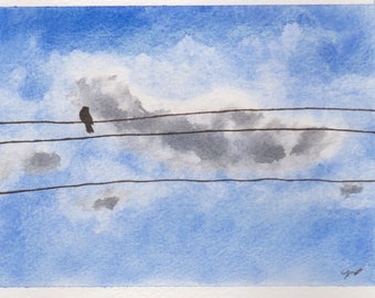 Original Watercolor Painting Of  Bird On A Line by Tim Borkert