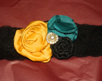 Boutique Satin Flower Rhinestone Embellished Lace Elastic Headband (17 inches Normally Fits 3T & UP)