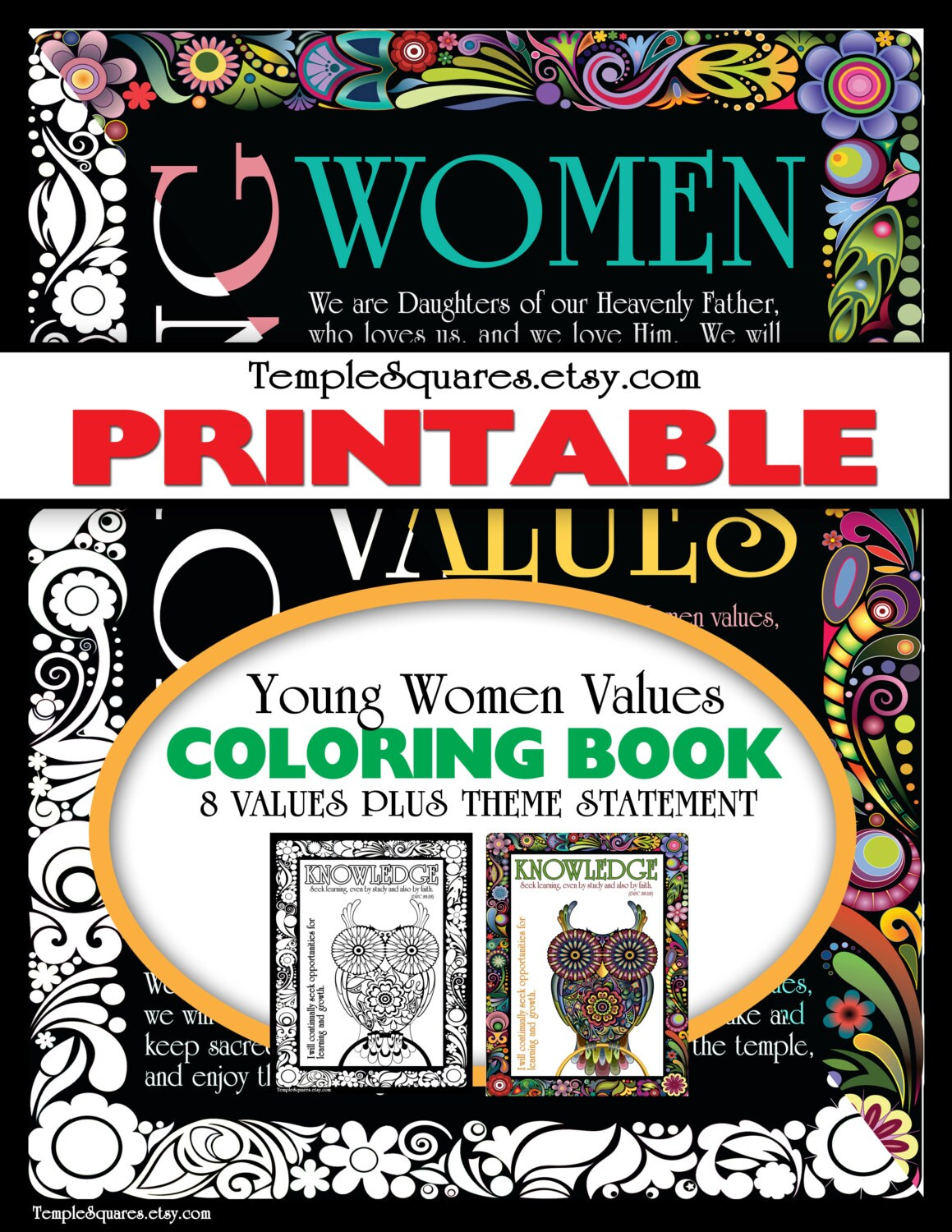 Printable Adult Coloring Book. LDS YW Young Women Values Theme ...