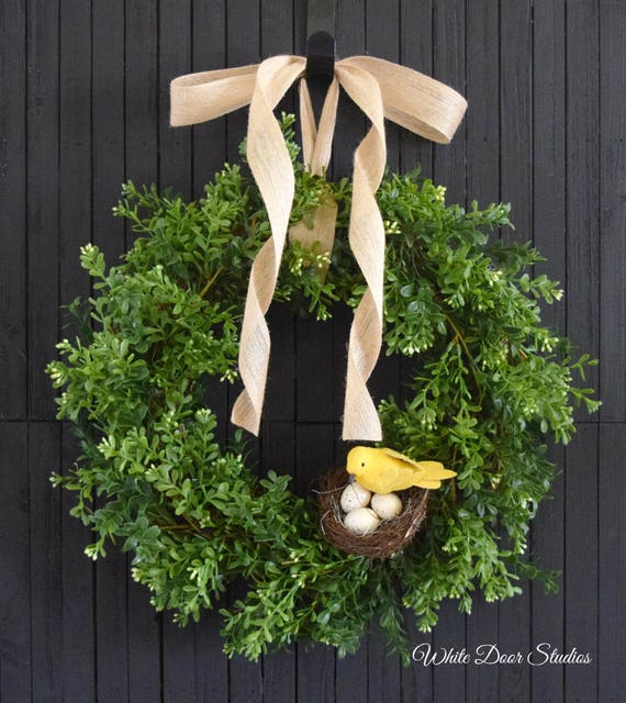 Boxwood Greenery Wreath with Bird's Nest