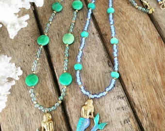 Golden Mermaid Pendant Necklaces with gemstone beads