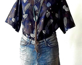 Free size Blouse woman over size Shirt  in Blue Print Cotton handmade