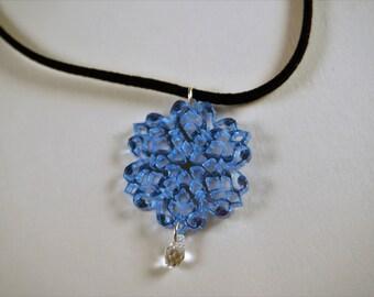 Snowflake choker, microsuede choker, holiday choker, Swarovski crystal choker, Christmas choker, Blue choker, small size