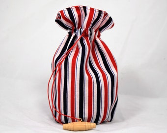 SALE - Vintage-Inspired Red, White, and Blue Dice Bag - Medium