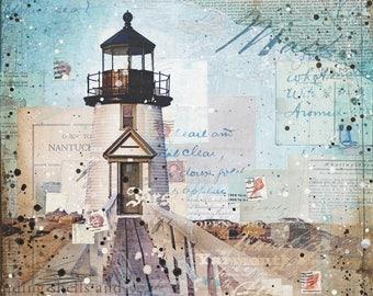 Brant Point Light art print | Nantucket Lighthouse Art | Mixed Media Poster | Nantucket Art | Lighthouse Poster | Paper Print