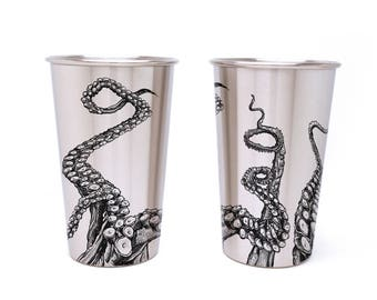 Stainless Steel Pint Glass - Octopus Tentacles - One Stainless Steel Pint Glass