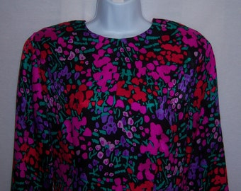 Vintage Jack Mulqueen Black Pink Red Green Floral Flower Blossom Print Pattern Silk Dress 8