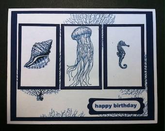 Handmade Hand-colored Nautical Seashore Birthday Greeting Card Masculine