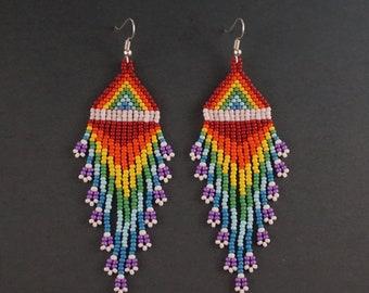 Long rainbow earrings Chakra beaded earrings Rainbow beaded jewelry Multicolor bright earrings  mother gift Futuristic earrings lgbt funky