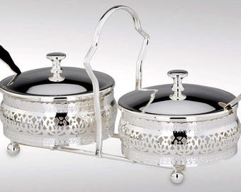 Nostalgic meal with pair of jam jars - silver tarnishing