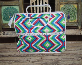Quilted Retro Knitting Bag - Pink, blue, green and White