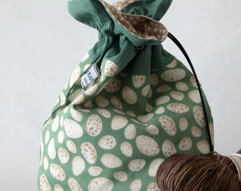 Small drawstring project bag eggs